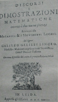 Титульный лист первого издания (1638 г.) основополагающей работы Галилея по теоретической механике «Беседы и математические доказательства...»